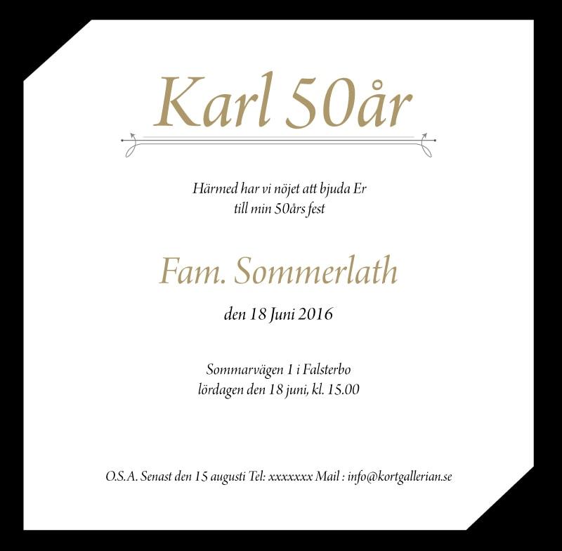 inbjudan 50 års fest Inbjudningskort till fest mall Elegance inbjudan 50 års fest