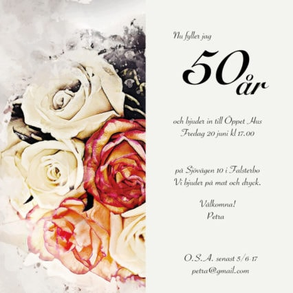 Inbjudnongskort till 50års födelsedag