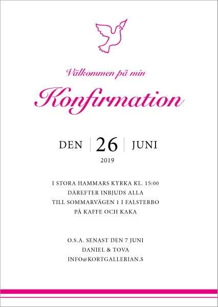 Inbjudningskort konfirmation mall pinkbird