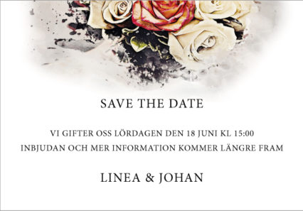 Save the date kort brollop rustik