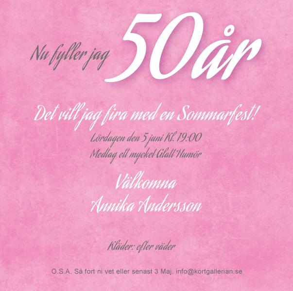 fest 50 år Inbjudningskort 50 års fest mall Pink paper fest 50 år
