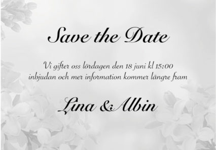 Save the date kort inbjudan